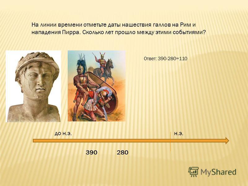 390 280 до н.э. н.э. На линии времени отметьте даты нашествия галлов на Рим и нападения Пирра. Сколько лет прошло между этими событиями? Ответ: 390-280=110