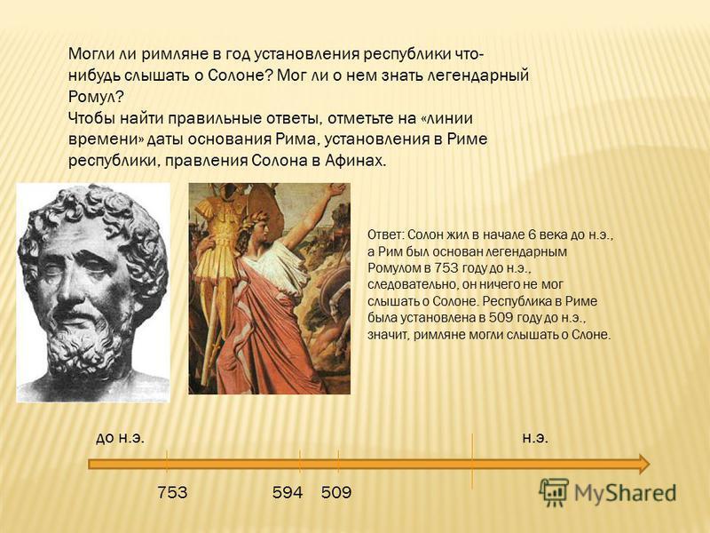 Могли ли римляне в год установления республики что- нибудь слышать о Солоне? Мог ли о нем знать легендарный Ромул? Чтобы найти правильные ответы, отметьте на «линии времени» даты основания Рима, установления в Риме республики, правления Солона в Афин