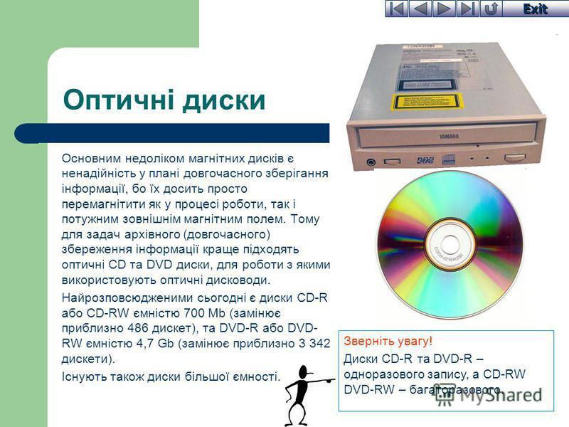 Exit Оптичні диски Основним недоліком магнітних дисків є ненадійність у плані довгочасного зберігання інформації, бо їх досить просто перемагнітити як у процесі роботи, так і потужним зовнішнім магнітним полем. Тому для задач архівного (довгочасного)
