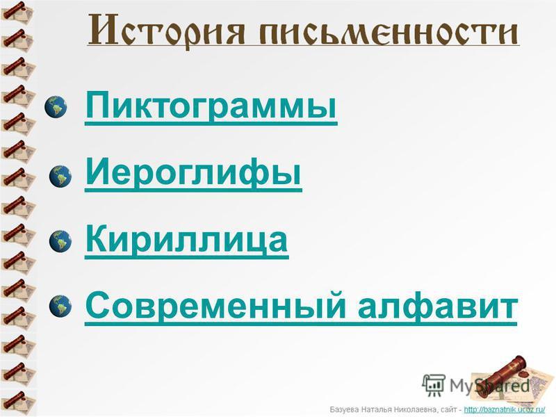 Пиктограммы Иероглифы Кириллица Современный алфавит