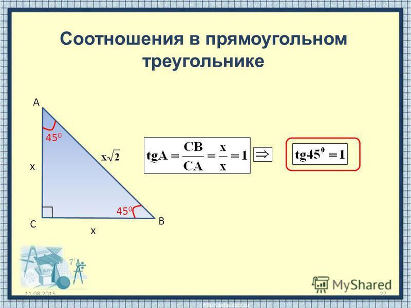 11.08.201527 Соотношения в прямоугольном треугольнике С В А х х 45 0