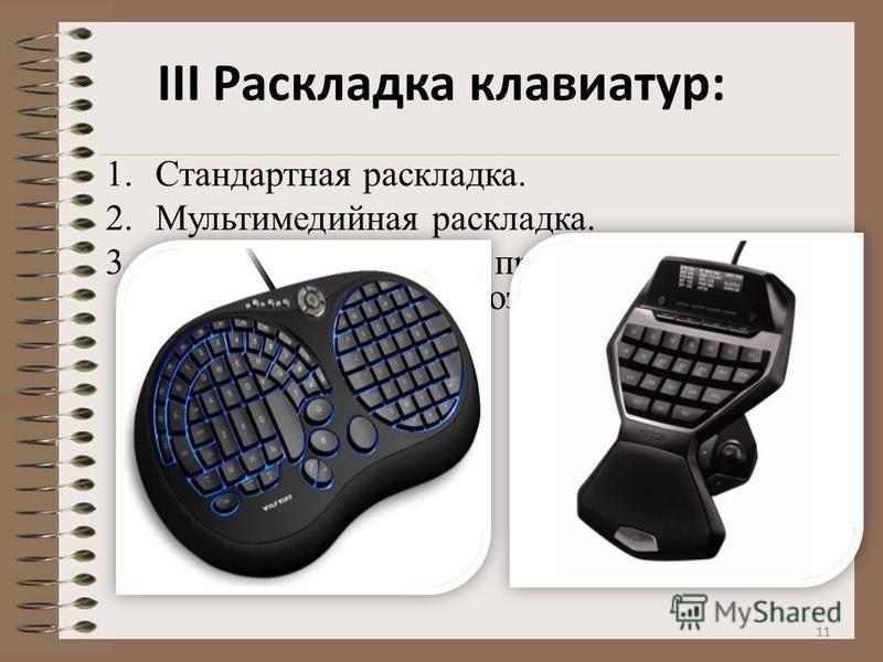 III Раскладка клавиатур: 1. Стандартная раскладка. 2. Мультимедийная раскладка. 3. Нельзя не упомянуть про существование игровых клавиатур, созданных для игроков. 11
