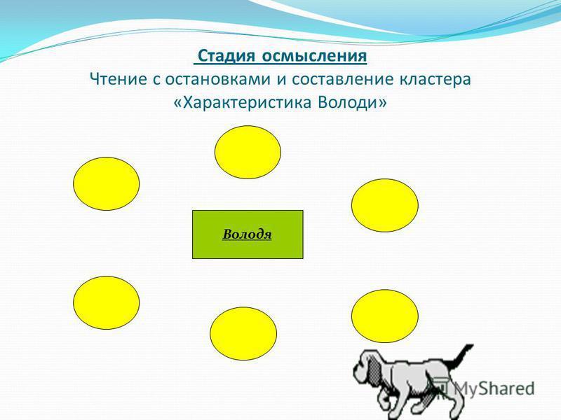 Стадия осмысления Чтение с остановками и составление кластера «Характеристика Володи» Володя