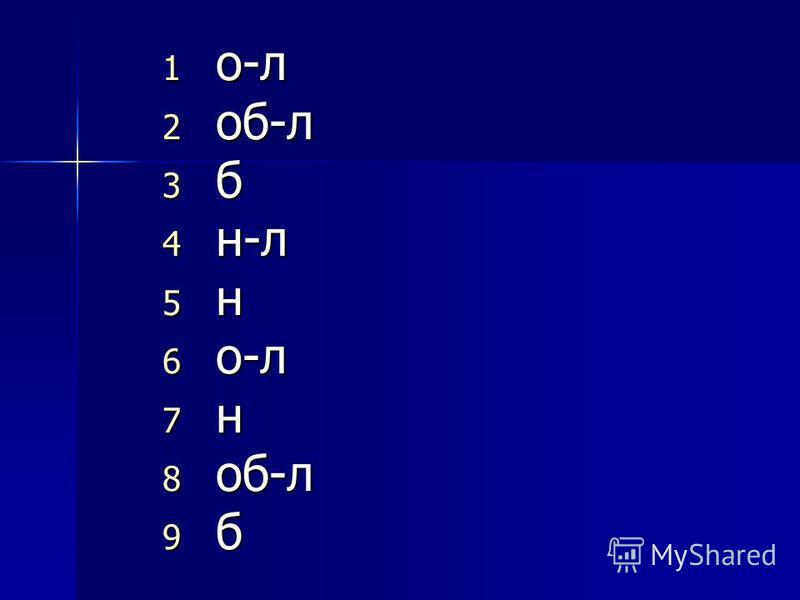 1 о-л 2 об-л 3 б 4 н-л 5 н 6 о-л 7 н 8 об-л 9 б