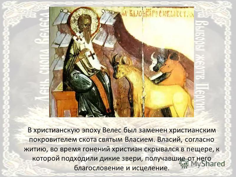 В христианскую эпоху Велес был заменен христианским покровителем скота святым Власием. Власий, согласно житию, во время гонений христиан скрывался в пещере, к которой подходили дикие звери, получавшие от него благословение и исцеление.