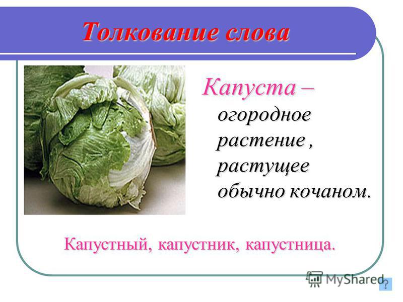 Толкование слова Капуста – огооодное растение, растущее обычно кочаном. Капустный, капустник, капустница.