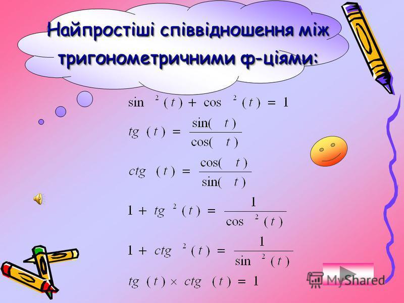 Значення тригонометричних функцій для деяких кутів: sin cos tg ctg