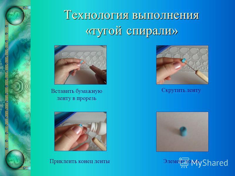 Технология выполнения «тугой спирали» Вставить бумажную ленту в прорезь Скрутить ленту Приклеить конец ленты Элемент готов