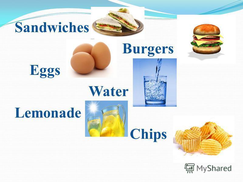 Sandwiches Burgers Eggs Water Lemonade Chips