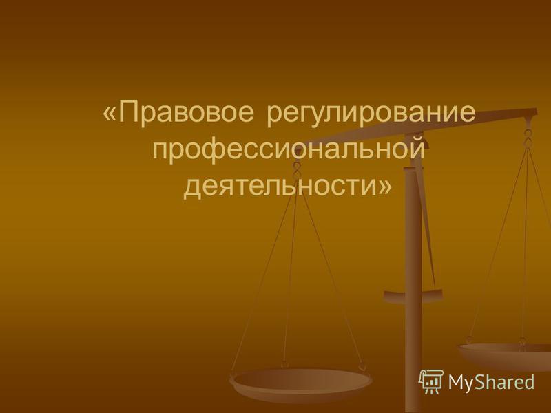 «Правовое регулирование профессиональной деятельности»