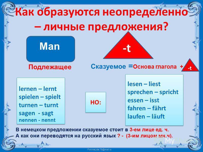 FokinaLida.75@mail.ru Как образуются неопределенно – личные предложения? В немецком предложении сказуемое стоит в 3-ем лице ед. ч. А как они переводятся на русский язык ? - (3-им лицом мн.ч). Man Подлежащее -t Сказуемое = Основа глагола + lernen – le