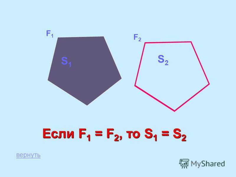 F2F2 S1S1 S2S2 F1F1 Если F 1 = F 2, то S 1 = S 2 вернуть