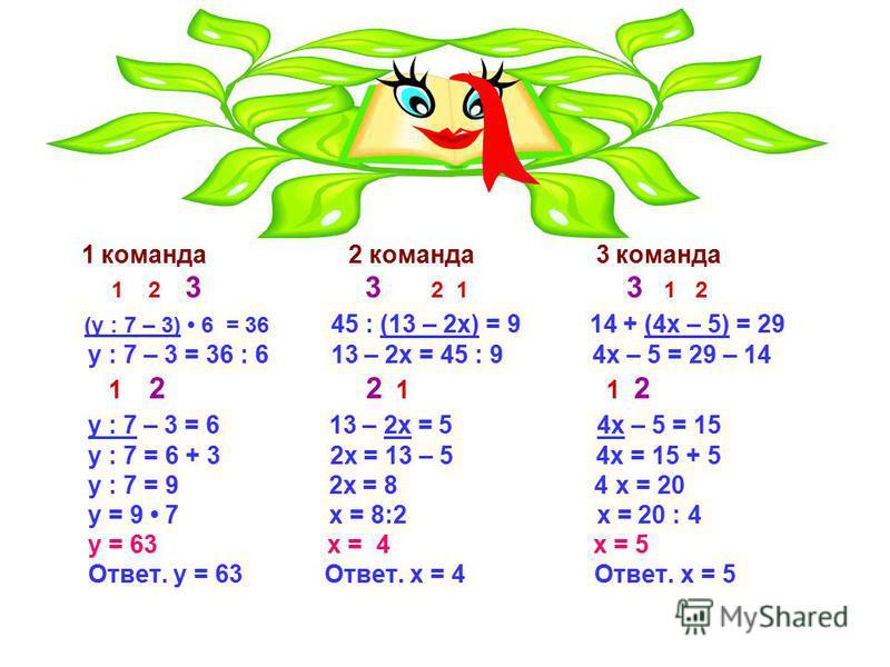 Третий конкурс ДУМАЙ, РЕШАЙ, ОБЪЯСНЯЙ! (y : 7 – 3) 6 = 36 – 1 команде 45 : (13 – 2x) = 9 – 2 команде 14 + (4x – 5) = 29 – 3 команде