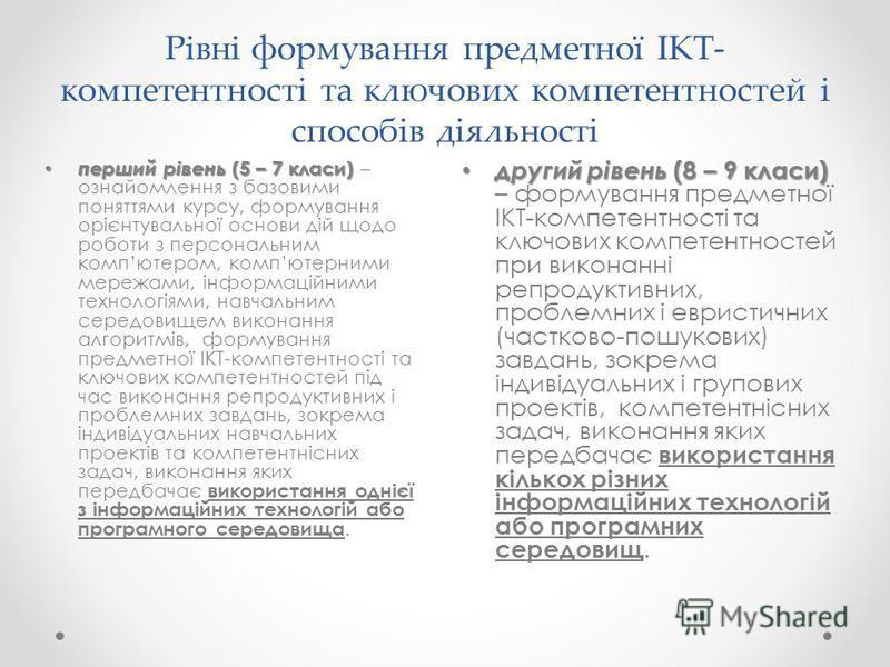 Рівні формування предметної ІКТ- компетентності та ключових компетентностей і способів діяльності другий рівень (8 – 9 класи) другий рівень (8 – 9 класи) – формування предметної ІКТ-компетентності та ключових компетентностей при виконанні репродуктив