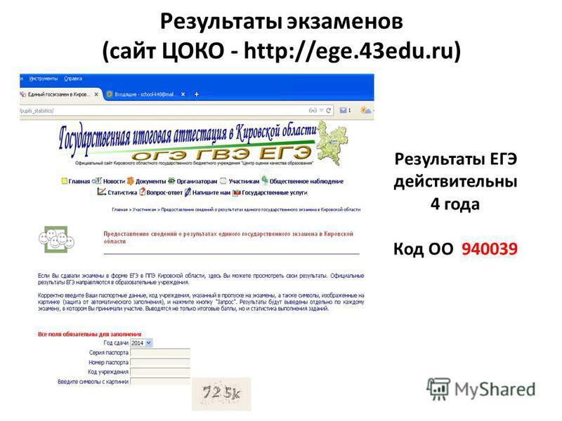 Результаты ЕГЭ действительны 4 года Код ОО 940039