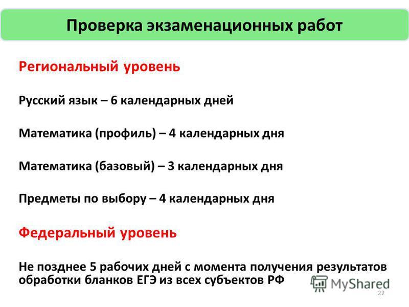 Региональный уровень Русский язык – 6 календарных дней Математика (профиль) – 4 календарных дня Математика (базовый) – 3 календарных дня Предметы по выбору – 4 календарных дня Федеральный уровень Не позднее 5 рабочих дней с момента получения результа