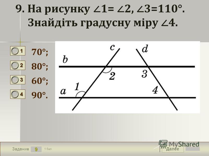 Далее 9 Задание 1 бал. 1111 2222 3333 4444 9. На рисунку 1= 2, 3=110°. Знайдіть градусну міру 4. 70°; 80°; 60°; 90°.