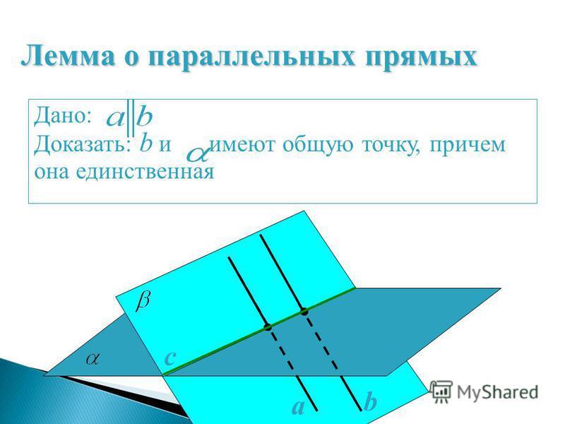 a b с Р М Дано: Доказать: b и имеют общую точку, причем она единственная Лемма о параллельных прямых