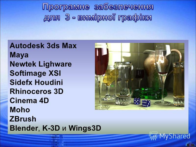 Autodesk 3ds Max Maya Newtek Lighware Softimage XSI Sidefx Houdini Rhinoceros 3D Cinema 4D Moho ZBrush Blender, K-3D и Wings3D