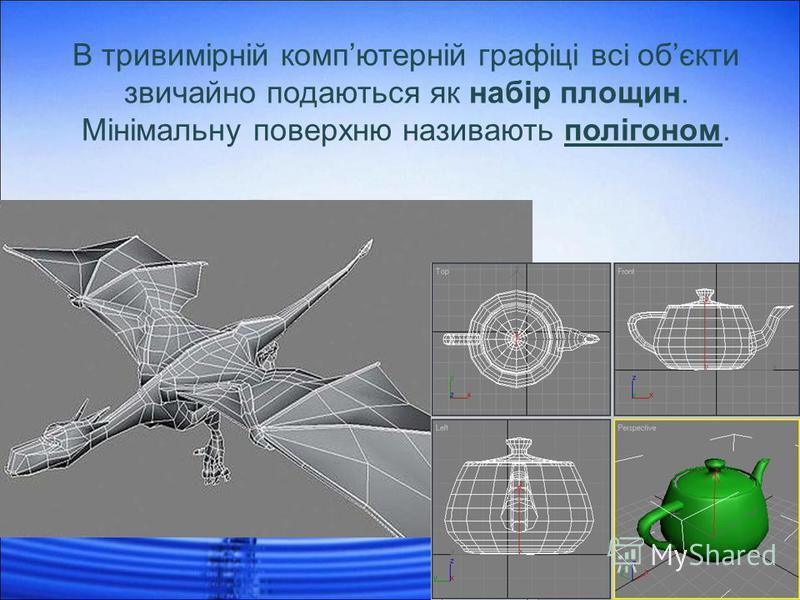 В тривимірній компютерній графіці всі обєкти звичайно подаються як набір площин. Мінімальну поверхню називають полігоном.