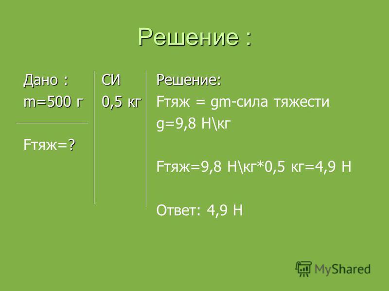 Решение : Дано : СИ m=500 г 0,5 кг ? Fтяж=? Решение: Fтяж = gm-сила тяжести g=9,8 Н\кг Fтяж=9,8 Н\кг*0,5 кг=4,9 Н Ответ: 4,9 Н