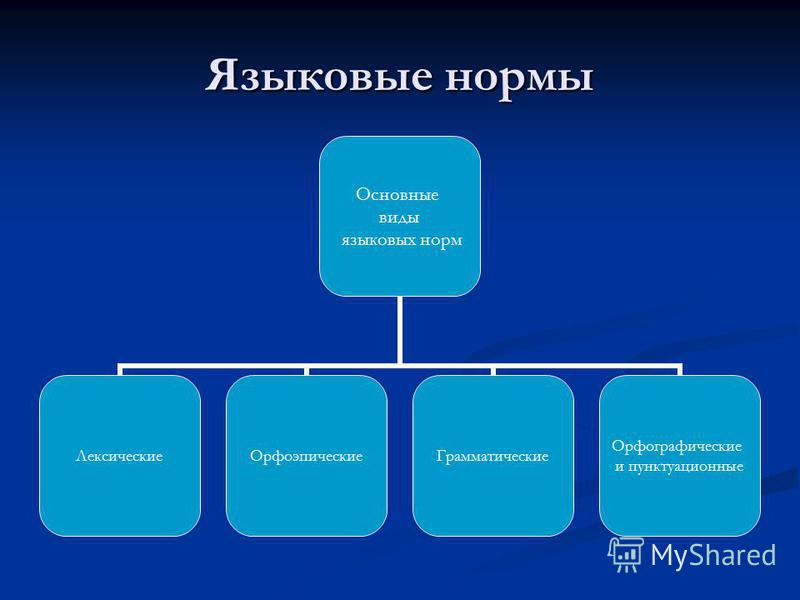 Языковые нормы Основные виды языковых норм Лексические ОрфоэпическиеГрамматические Орфографические и пунктуационные