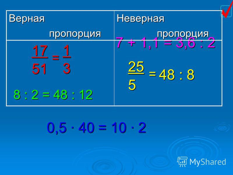 17 51 = 1 3 7 + 1,1 = 3,6 : 2 8 : 2 = 48 : 12 25 5 = 48 : 8 0,5 40 = 10 2 Верная пропорция пропорция Неверная