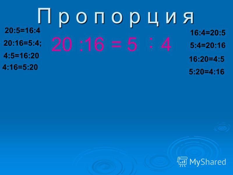 П р о п о р ц и я 20:16=5 : 4 20:5=16:4 20:16=5:4; 4:5=16:20 4:16=5:20 16:4=20:5 5:4=20:16 16:20=4:5 5:20=4:16