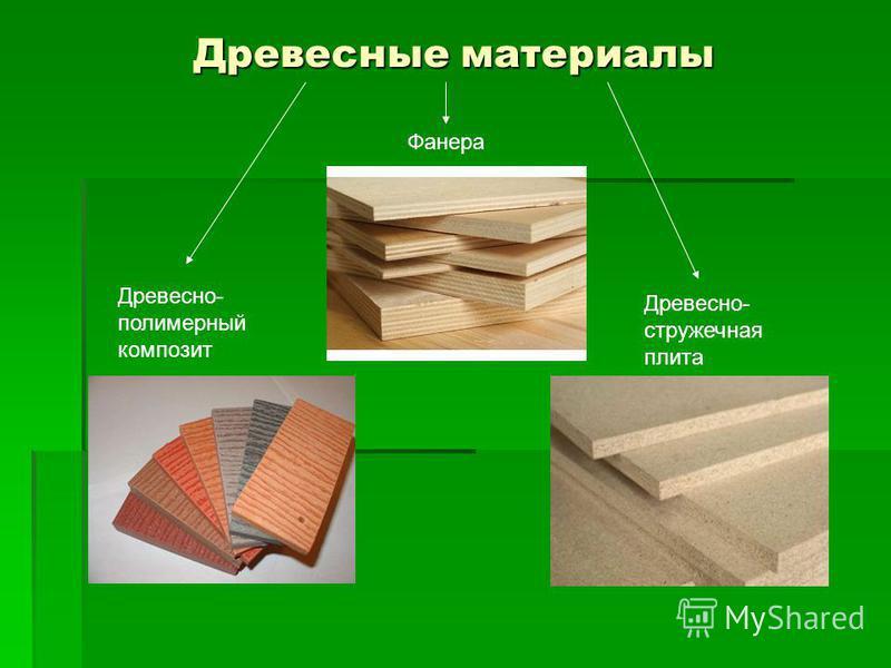 Древесные материалы Фанера Древесно- полимерный композит Древесно- стружечная плита