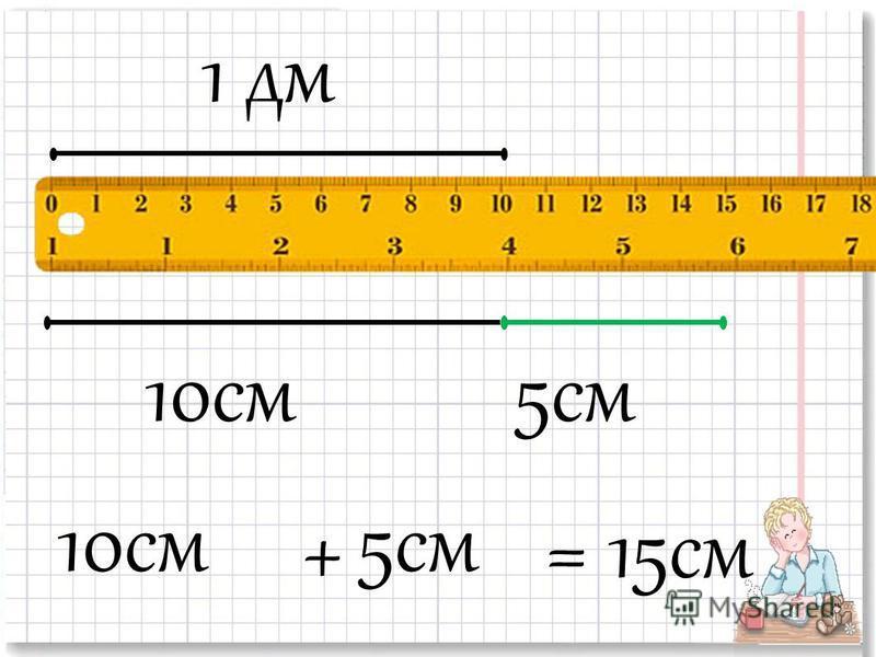 1 дм 10 см 5 см 10 см 5 см +=15 см