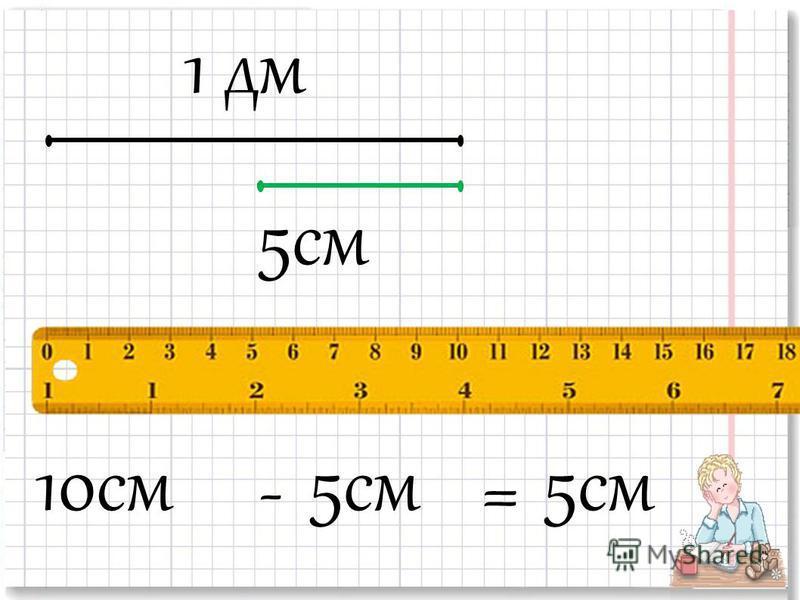 1 дм 5 см 10 см 5 см -=