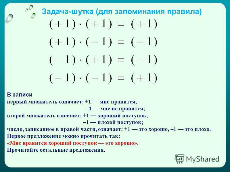 Задача-шутка (для запоминания правила) В записи первый множитель означает: +1 мне нравится, –1 мне не нравится; второй множитель означает: +1 хороший поступок, –1 плохой поступок; число, записанное в правой части, означает: +1 это хорошо, –1 это плох