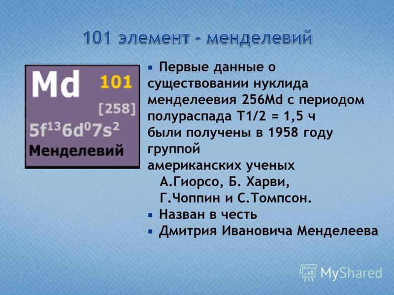 Первые данные о существовании нуклида менделевия 256Md с периодом полураспада Т1/2 = 1,5 ч были получены в 1958 году группой американских ученых А.Гиорсо, Б. Харви, Г.Чоппин и С.Томпсон. Назван в честь Дмитрия Ивановича Менделеева