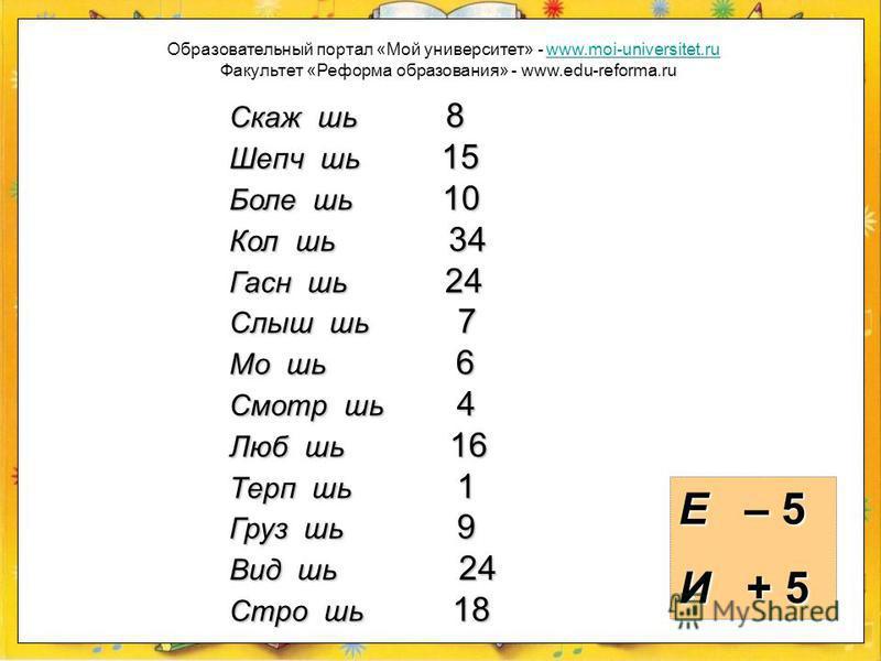 Если вы употребили в окончании букву е, то из заданного к слову числа вычтите 5 единиц, если букву и, то прибавьте к числу 5 единиц. Образовательный портал «Мой университет» - www.moi-universitet.ruwww.moi-universitet.ru Факультет «Реформа образовани
