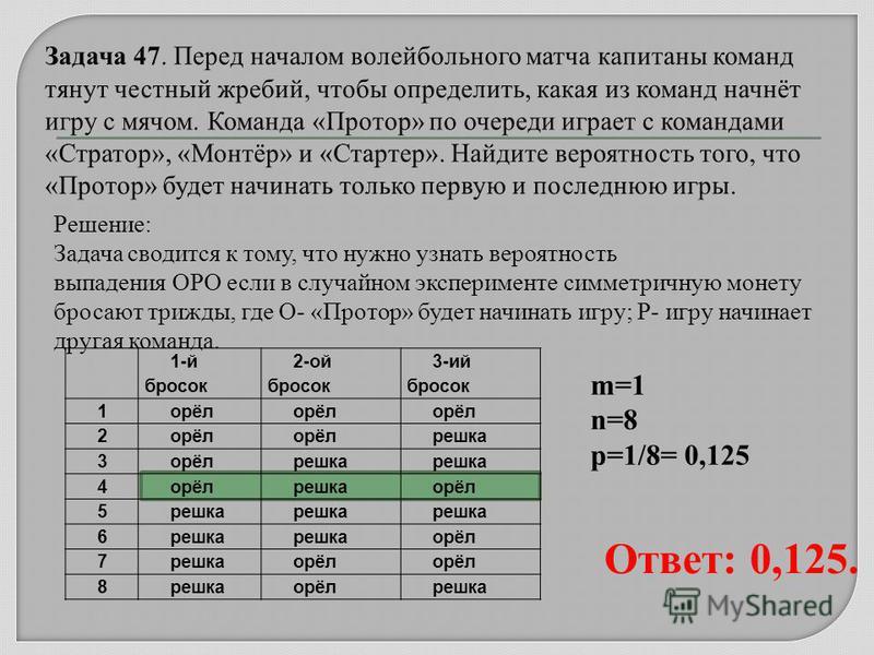 1-й бросок 2-ой бросок 3-ий бросок 1 орёл 2 решка 3 орёлрешка 4 орёлрешкаорёл 5 решка 6 орёл 7 решкаорёл 8 решкаорёлрешка Решение: Задача сводится к тому, что нужно узнать вероятность выпадения ОРО если в случайном эксперименте симметричную монету бр
