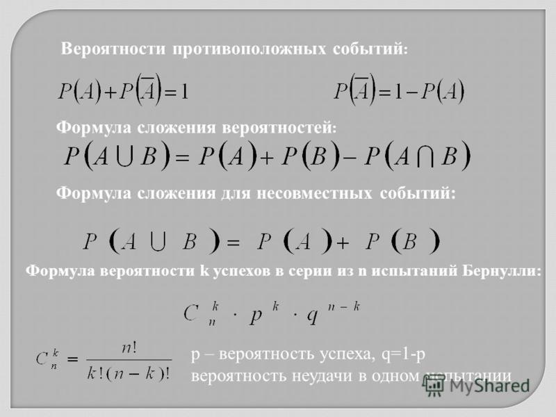 Вероятности противоположных событий : Формула сложения вероятностей : Формула сложения для несовместных событий: Формула вероятности k успехов в серии из n испытаний Бернулли: р – вероятность успеха, q=1-p вероятность неудачи в одном испытании