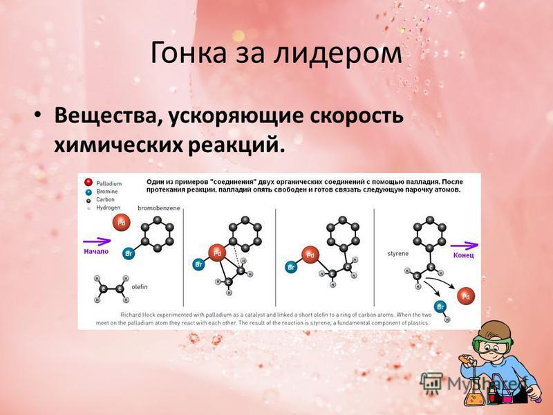 Гонка за лидером Вещества, ускоряющие скорость химических реакций.