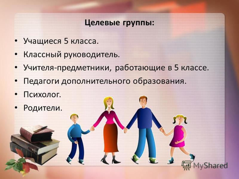 Целевые группы: Учащиеся 5 класса. Классный руководитель. Учителя-предметники, работающие в 5 классе. Педагоги дополнительного образования. Психолог. Родители.
