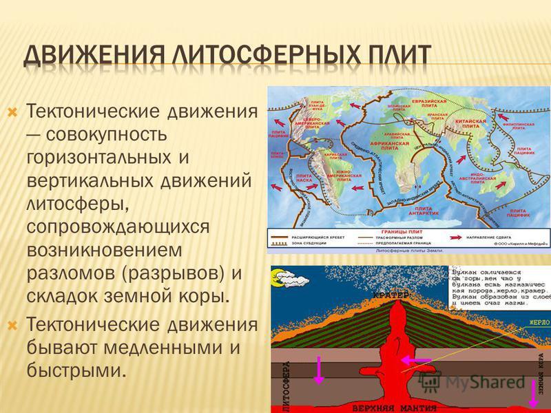 Тектонические движения совокупность горизонтальных и вертикальных движений литосферы, сопровождающихся возникновением разломов (разрывов) и складок земной коры. Тектонические движения бывают медленными и быстрыми.