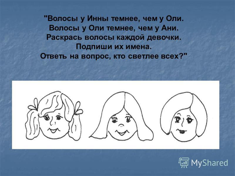 Волосы у Инны темнее, чем у Оли. Волосы у Оли темнее, чем у Ани. Раскрась волосы каждой девочки. Подпиши их имена. Ответь на вопрос, кто светлее всех?