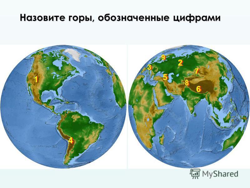 1 1 2 2 4 4 77 9 9 3 3 5 5 8 8 66 Назовите горы, обозначенные цифрами