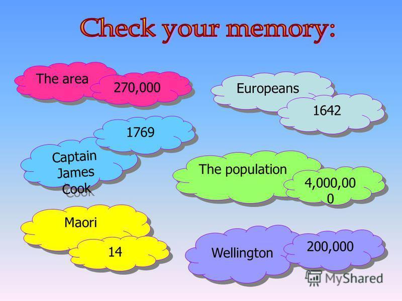 The area Europeans The population Maori 1642 Captain James Cook 200,000 270,000 1769 4,000,00 0 14 Wellington