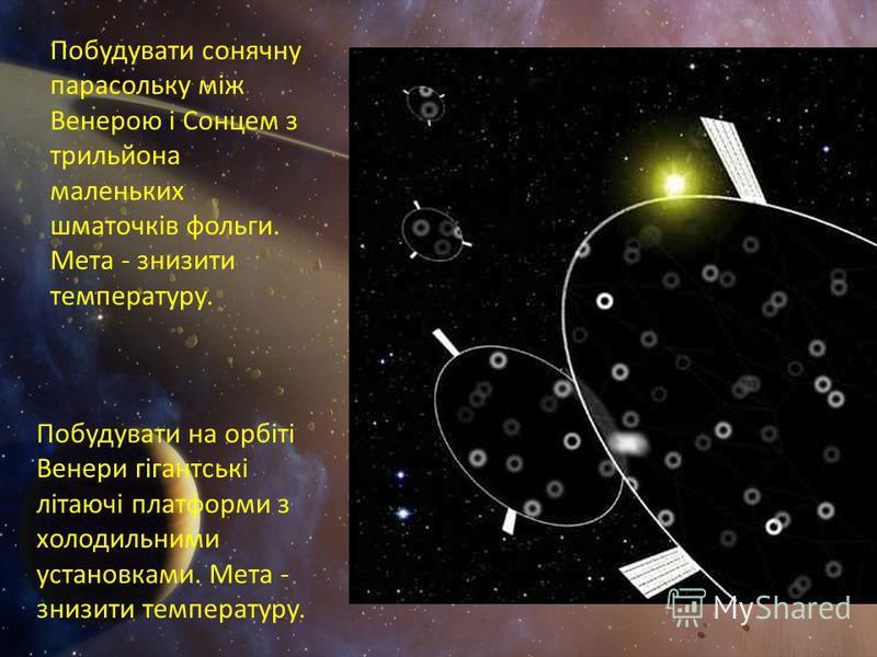 Побудувати сонячну парасольку між Венерою і Сонцем з трильйона маленьких шматочків фольги. Мета - знизити температуру. Побудувати на орбіті Венери гігантські літаючі платформи з холодильними установками. Мета - знизити температуру.