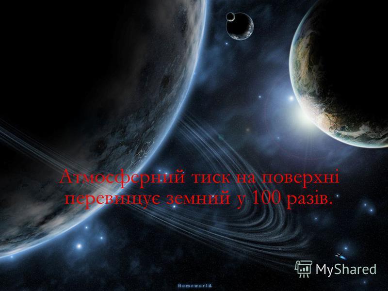 Атмосферний тиск на поверхні перевищує земний у 100 разів.
