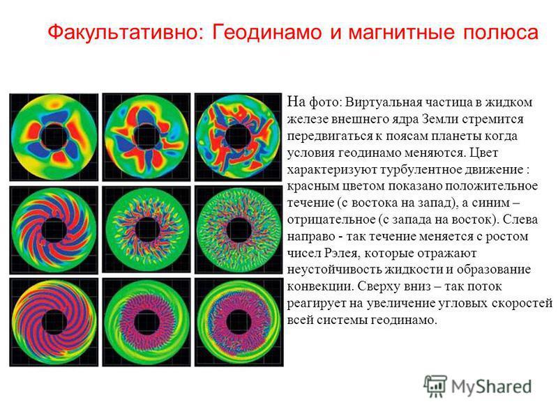 Факультативно: Геодинамо и магнитные полюса На фото: Виртуальная частица в жидком железе внешнего ядра Земли стремится передвигаться к поясам планеты когда условия геодинамо меняются. Цвет характеризуют турбулентное движение : красным цветом показано