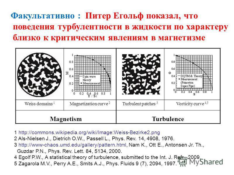 Факультативно : Питер Егольф показал, что поведения турбулентности в жидкости по характеру близко к критическим явлениям в магнетизме Weiss domains 1 Magnetization curve 2 Turbulent patches 3 Vorticity curve 4,5 MagnetismTurbulence 1 http://commons.w