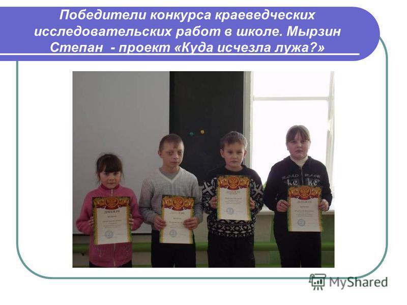 Победители конкурса краеведческих исследовательских работ в школе. Мырзин Степан - проект «Куда исчезла лужа?»