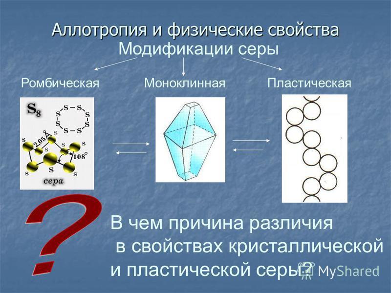 Аллотропия и физические свойства В чем причина различия в свойствах кристаллической и пластической серы? Модификации серы Ромбическая МоноклиннаяПластическая
