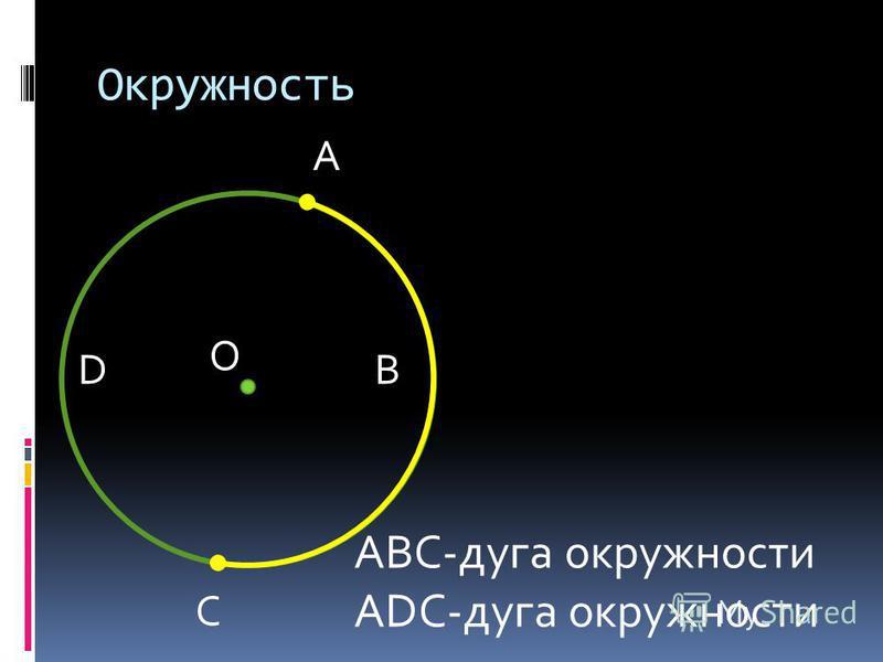 Окружность О А AВС-дуга окружности АDС-дуга окружности С ВD