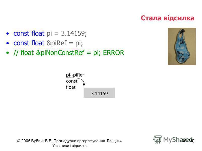 © 2006 Бублик В.В. Процедурне програмування. Лекція 4. Указники і відсилки 35 (38) Стала відсилка const float pi = 3.14159; const float &piRef = pi; // float &piNonConstRef = pi; ERROR